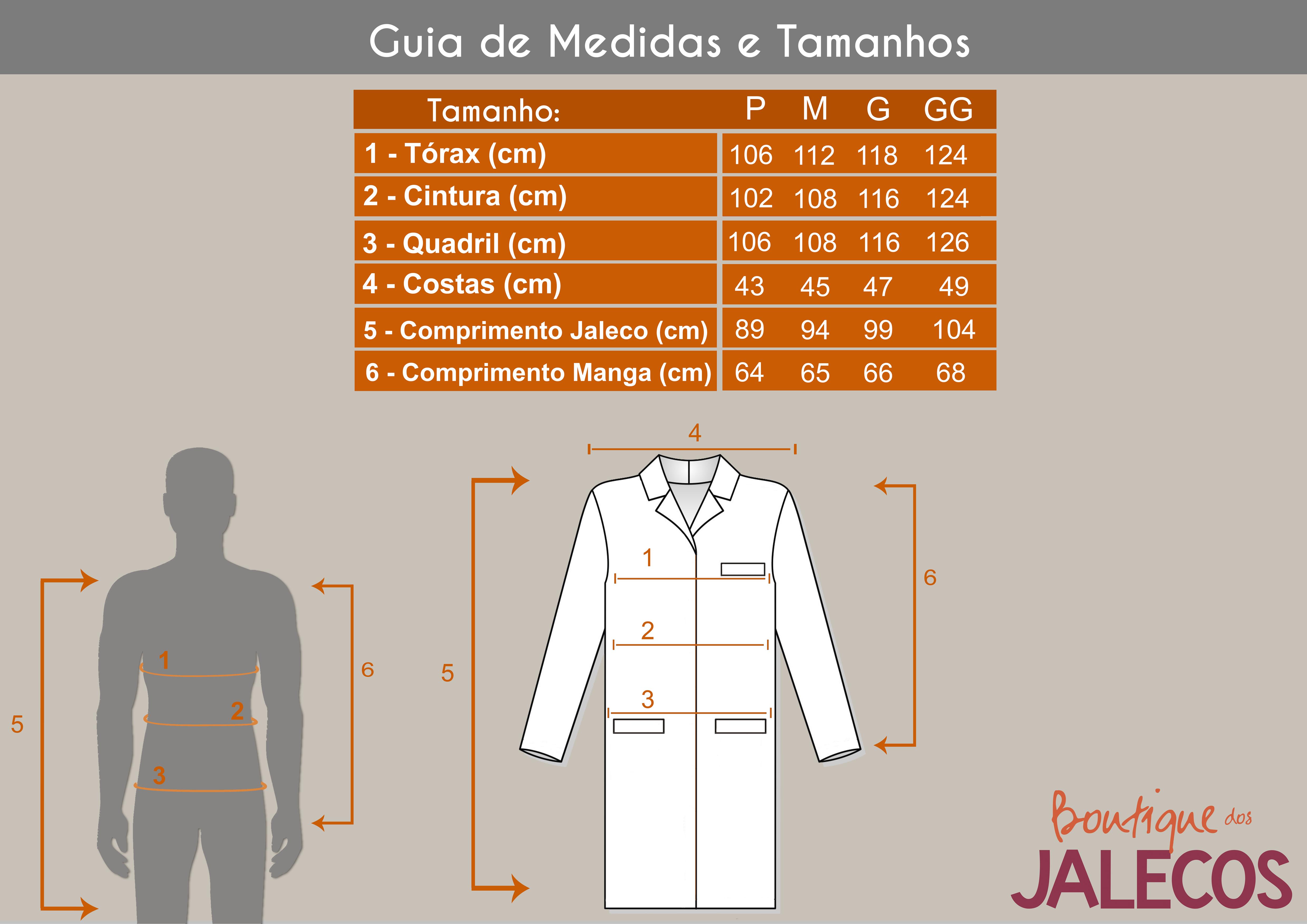 Tabela de Medidas dos Jalecos masculinos