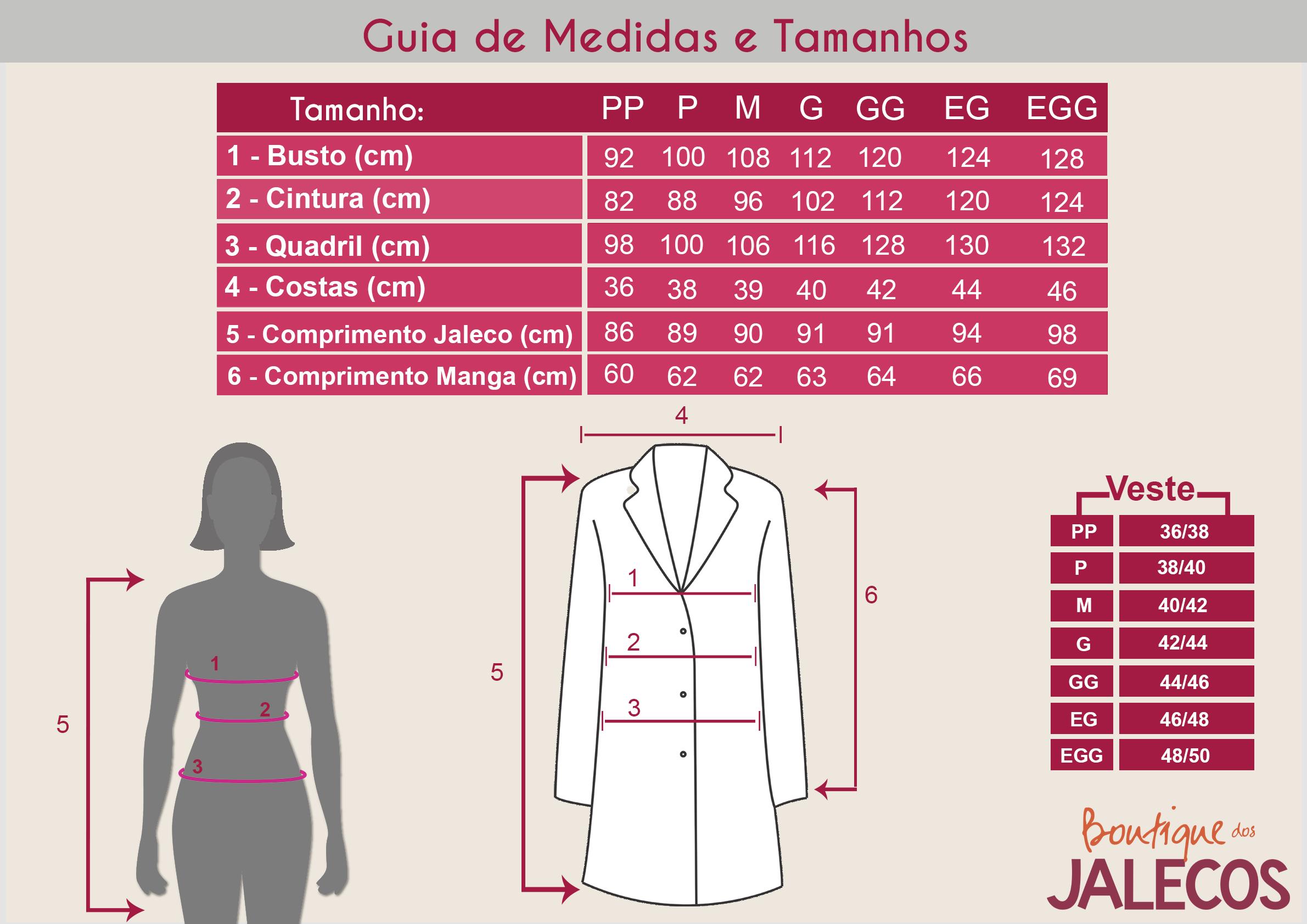 Tabela de Medidas dos Jalecos Femininos